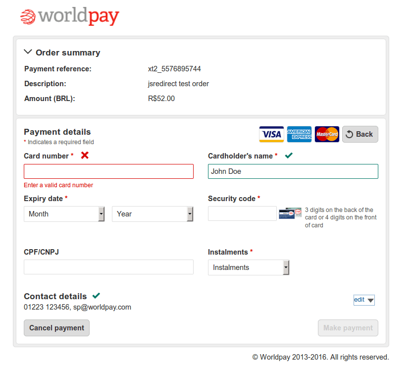 Latin America Hosted Payment Pages Example